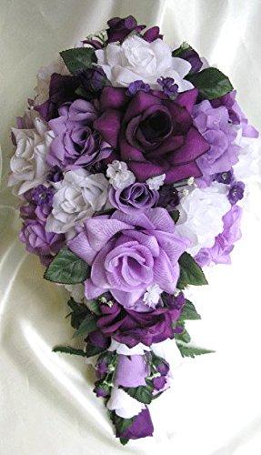 21 Pieces Package Wedding Bouquet Bridal Silk Flower Cascade Plum PURPLE LAVENDER WHITE Centerpiece Decoration Rosesanddreams