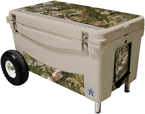 Frio Ice Chests Extreme Wheeled Tan Hard Side with King's Camo Mountain Theme Vinyl Wrap and Built-In Motion Sensitive Light Bar with Bottle Openers, 65 quart by Frio Ice Chests