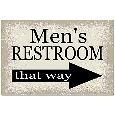 Bathroom sign with arrow Wall Mounted Chawuux Mens Bathroom Sign Arrow To The Right 12x8 Metal Sign Home Decor Wedding Decor Restaurant Amazoncom Amazoncom Chawuux Mens Bathroom Sign Arrow To The Right 12x8
