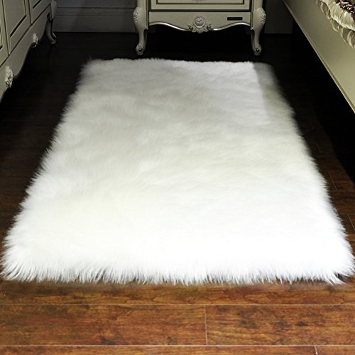 Faux Fur Sheepskin Area Rug, Baby Bedroom Rugs Fluffy Rug Home Decorative Shaggy Rectangle Carpet, 2x3 Feet, White (Furry Rug White)