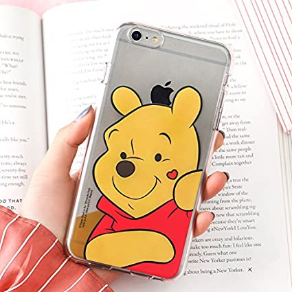 Soft TPU Clear Winnie The Pooh Bear Case for iPhone 7+ 7Plus 8+ 8Plus Large Size Ultra Slim Fit Disney Cartoon Finger Heart Red Heart Protective Cool ...