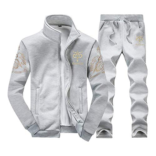 - Men Casual Athletic Tracksuit Sports Sets Baseball Style Jacket & Pants (Light Grey-X-Small)