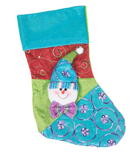- Clever Creations Plush Snowman Patchwork Christmas Stocking Red, Blue and Green Design | Stuffed Dimensional Face, Hat and Tie | Soft Embroidered Cloth | Festive Holiday Décor | Measures 16.5