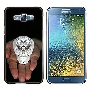 LECELL--Funda protectora / Cubierta / Piel For Samsung Galaxy E7 E700 -- Cráneo Impreso 3D Blanco Amor de Dios Negro --