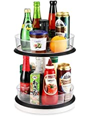 2-Tier Cabinet Turntable Lazy Susan, SEALON 360 Degrees Kitchen Rotatable Shelf Liftable for Condiment Bottles Bowl Spoon Fork 11 Inch