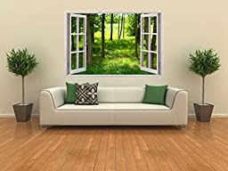 Removable Wall Decals - Huge Vinyl Mural - 3D Window view Stickers - Large Nature Poster 33.5\