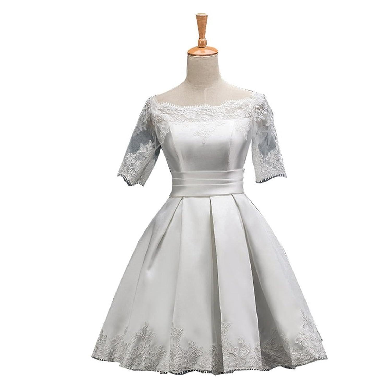 De la Mujer de manga corta bordado formal vestido de noche longitud de la rodilla para vestidos: Amazon.es: Ropa y accesorios