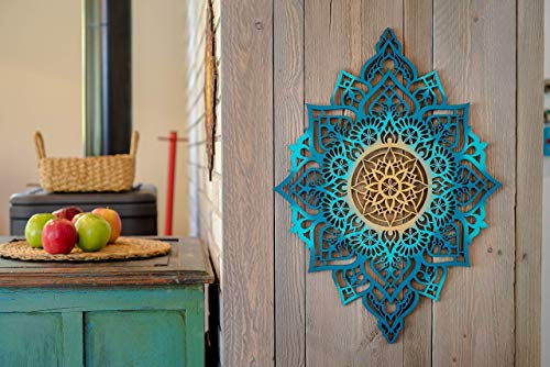 (Mandala Wood Home Decor, Boho Ethnic Living Room Wall Hanging, Morrocan Indian Wall Art, Sacred Geometry Ethnic, Unique Handmade Spiritual Gift )