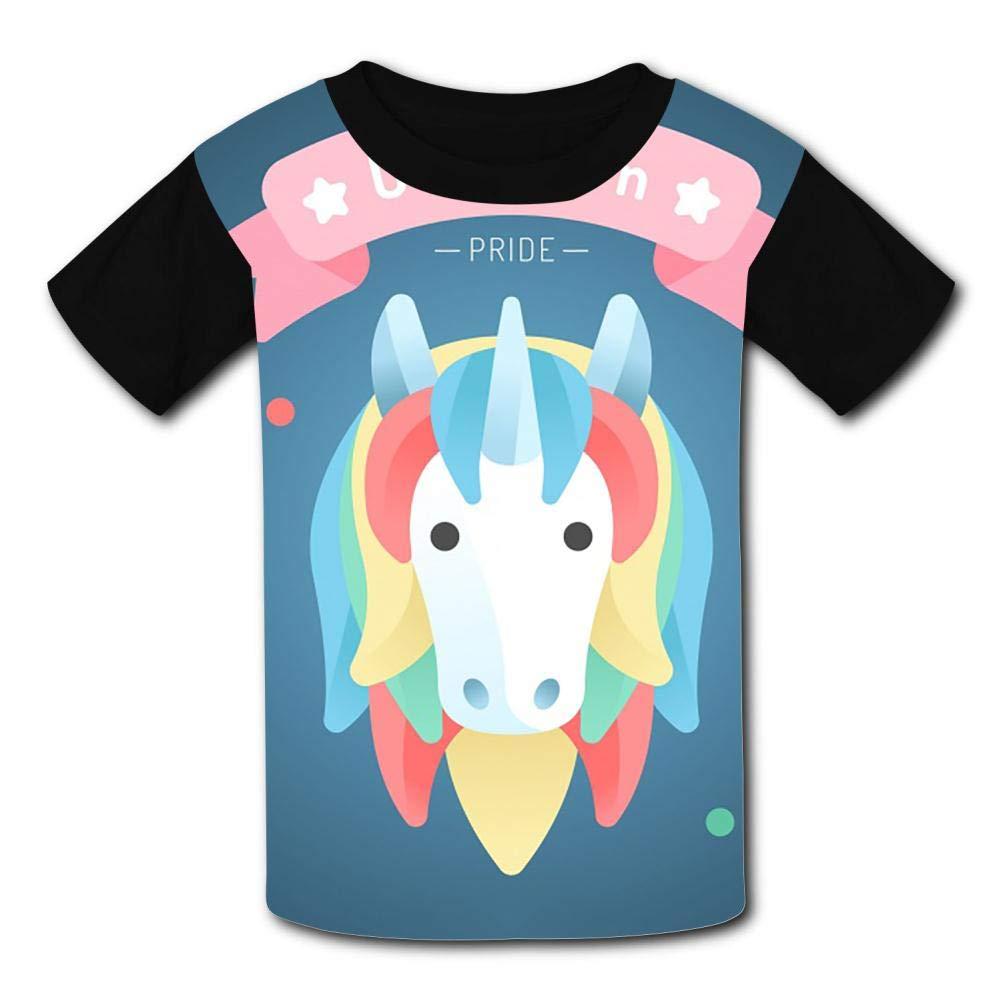 Beautiful Unicorn Background FrontViewChildrens Summer Short Sleeve Printing T-Shirts