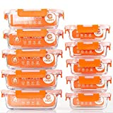 [10-Pack] Glass Food Storage Containers - Food Prep Containers with BPA Free Lids