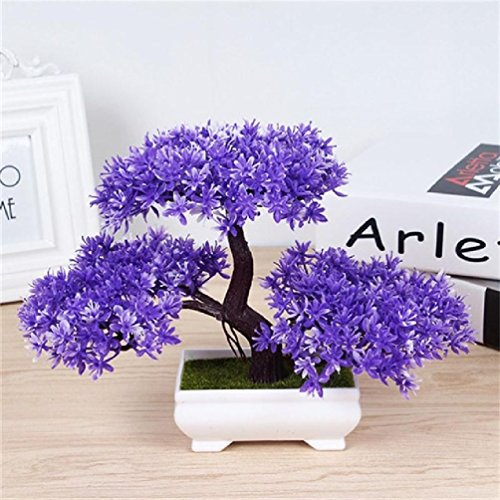 1Pcs Artificial Bonsai Tree Welcoming Plant Potted Bonsai Fake Mini Flower Green Plant Pine Pot Vase Wedding Home Decoration (Artificial Christmas Bonsai Tree)