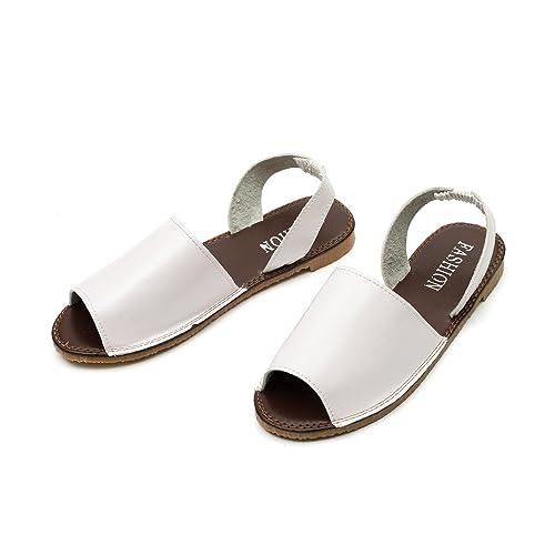 SCHOLIEBEN Mujeres Damas Pescado Boca Alpargatas Verano Chunky Zapatos De Vacaciones Sandalias Planas: Amazon.es: Zapatos y complementos