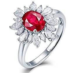 White Gold Red Ruby Diamond Ring