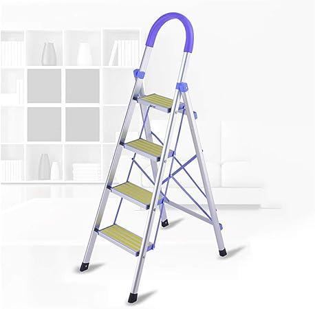 AOSTEP Escalera Plegable de Aluminio para el hogar, Escalera de 4/5 escalones con pasamanos de Seguridad, portátil, Antideslizante, Soporte de ingeniería para escaleras Interiores y Exteriores: Amazon.es: Hogar
