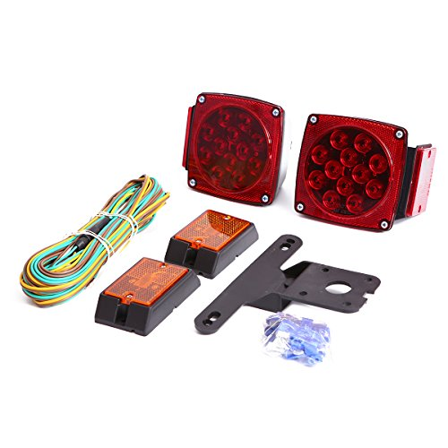 CZC AUTO 12V LED Submersible Trailer Tail Light Kit for Under 80 Inch Boat Trailer RV Marine (Trailer Light kit)
