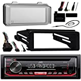 JVC KDR490 Radio USB AUX CD Player Receiver W/ Cover - Bundle With Install Dash Kit + Handle Bar Control + Enrock Antenna for 98 2013 Harley Touring Flht Flhx Flhtc Motorcycle Bike