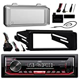 JVC KDR490 Radio USB AUX CD Player Receiver W/Cover - Bundle with Install Dash Kit + Handle Bar Control + Enrock Antenna for 98 2013 Harley Touring Flht Flhx Flhtc Motorcycle Bike