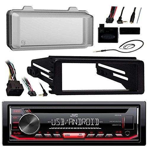 JVC KDR490 Radio USB AUX CD Player Receiver W/Cover - Bundle