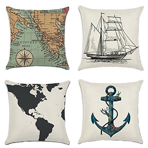 MHB Decorative Nautical Anchor Sailing Map Cotton Linen Throw Pillow Covers 18 x18 Inch (Pack of 4 Pieces)