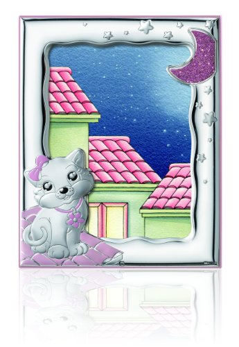 Silver Touch USA Sterling Silver Picture Frame Kitty, Pink, 5
