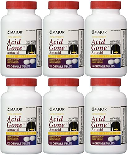 Acid Gone Antacid Chewable Generic for Gaviscon Extra Strength Chewable Tablets 100 Ct. Per Bottle Pack of 6 Bottles Total 600 Tablets