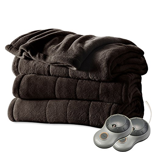 Big Save! Sunbeam Channeled Microplush King Heated Electric Blanket Walnut Brown