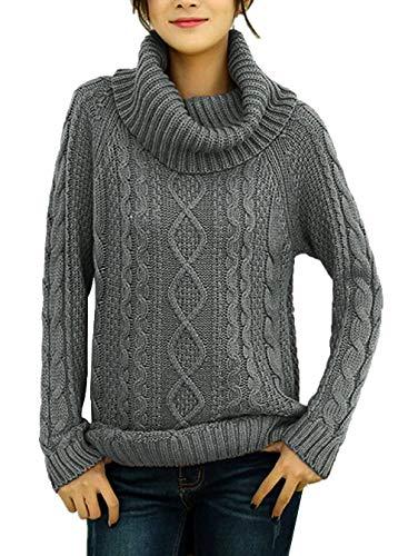 v28 Women's Korean Design Turtle Cowl Neck Ribbed Cable Knit Long Sweater Jumper (Grey,L) ()