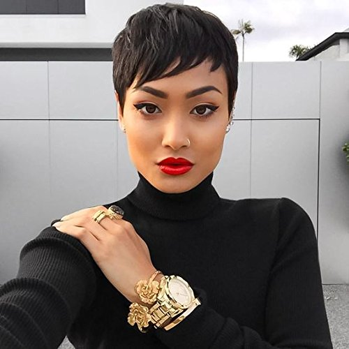 Search : RUISENNA Short Human Hair Wigs Pixie Cut Black Wigs for Black Women Glueless Wigs for African American ¡­