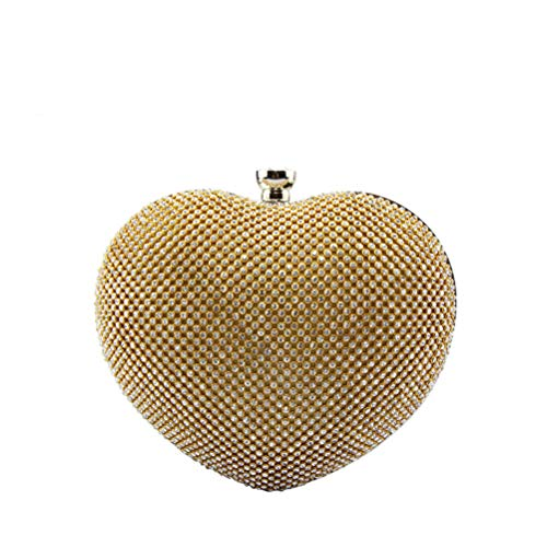 Clutch Bag sposa in da cristallooro Wanforjewellery Diamond Ladiescatena oro Heart Shaped vmwN8On0