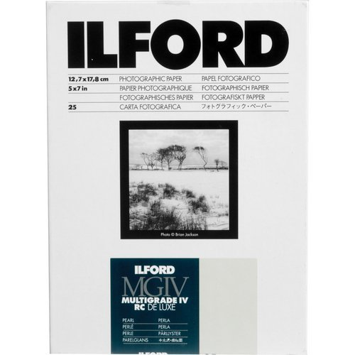 Ilford 1168309 Multigrade IV RC Deluxe Resin Coated VC Variable Contrast Black & White Enlarging Paper - 5x7 25 Sheets - Pearl Surface (Ilford Pearl Photo Paper)