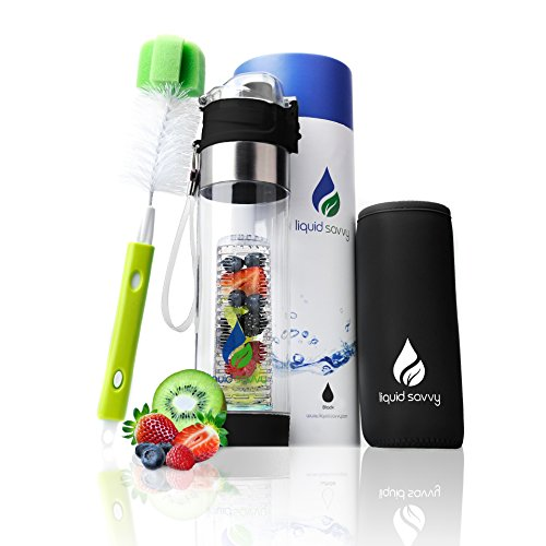 Liquid Savvy 24oz Water Infuser – Fruit Infused Water Bottle with Leak Proof Flip Top Lid, Tritan Plastic with Bottom Infusing Design with Neoprene Insulated Sleeve, Strainer & Bottle Brush (Black)