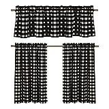 Black White Gingham Checkered Design (3 Pc. Kitchen Curtain Set)