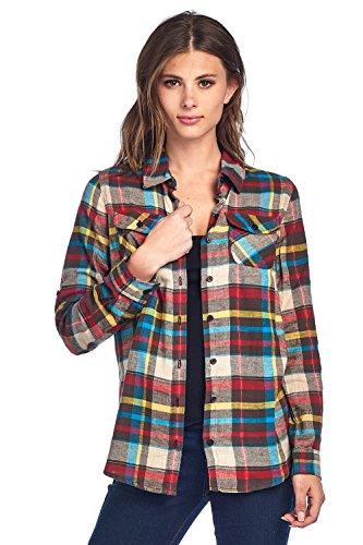 ICONICC Women's Long Sleeve Plaid Flannel Shirt (CT0023_17_L)