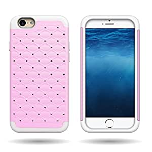 """iPhone 6 (4.7"""""""") Case by CoverON® Hybrid Dual Layer Diamond Rhinestone Bling Case for Apple iPhone 6 (4.7"""""""") - White Soft Silicone Gel Skin + Hard Plastic Light Pink Case"""