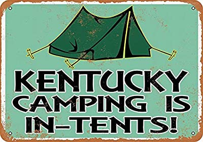 LoMall 8 x 12 Metal Sign - Kentucky Camping is in-Tents - Vintage Look