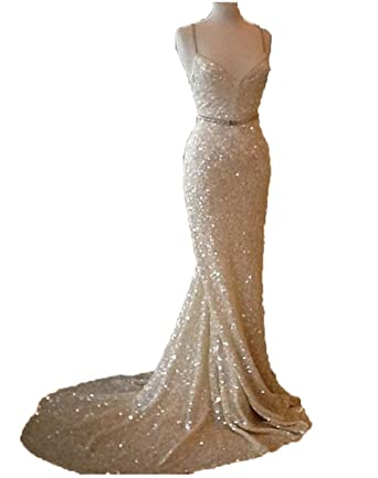HiProm Sequined Prom Dress Mermaid Sexy Spaghetti Evening Gowns Formal Party Dresses Cheap
