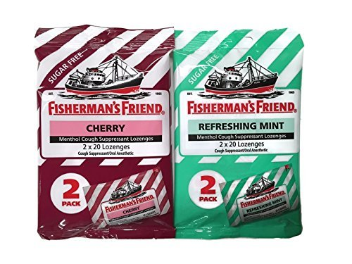 Sugar Free Fisherman's Friend Lozenges: Cherry & Refreshing Mint [1 Pack of Each Type = 2 Packs Total]
