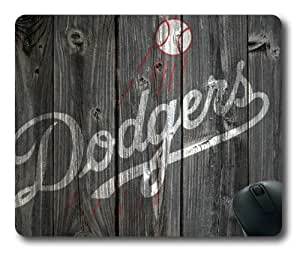 Los Angeles Dodgers Wooden Background of NFL Sports Team logo Rectangle Shaped Mouse Pad by Skynessky