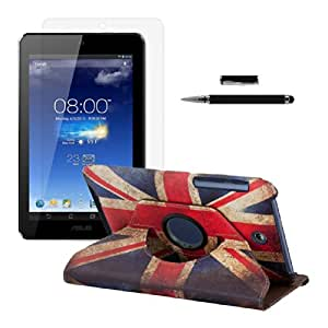 kwmobile 3in1 set: 360° premium SYNTHETIC LEATHER CASE Retro flag design (England) for Asus Memo Pad HD 7 Retro flag design (England) with stand function + Skin, crystal clear + Stylus, black
