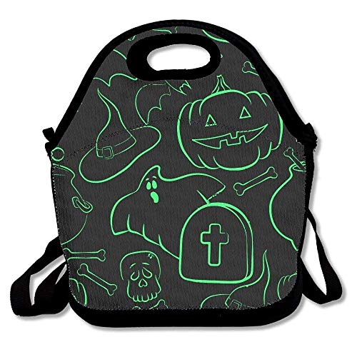 Maozond8 Funny Halloween Party Begin Reusable Insulated Neoprene Lunch Bag Lunch Tote Shoulder Strap School Picnic Office Work Travel