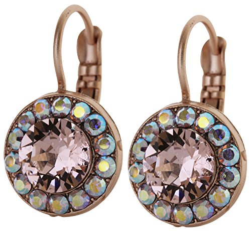 Mariana Rose Goldtone Round Circle Disc Small Crystal Earrings,