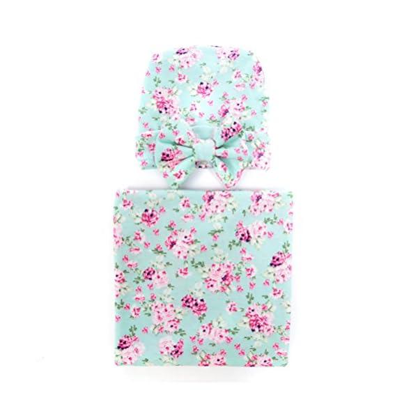 Hcside Newborn Infant Baby Swaddle Cotton Bath Towel Receiving Blankets Floral Print Hat Set (Green)