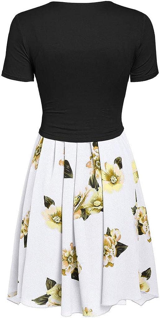 Women Vintage Dress Suit 50s Retro Cocktail Dress,Rockabilly Bow Knot Bandage Evening Swing Party Dress Spring Prom Dress A-Line Sleeveless Sunflower Print Summer Dress