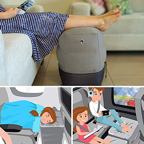Yu2d  Inflatable Trave Foot Rest Pillow Kids Airplane Bed Adjustable Height Leg Pillow Make a Flat Bed for Kids and Toddlers(Gray)]()