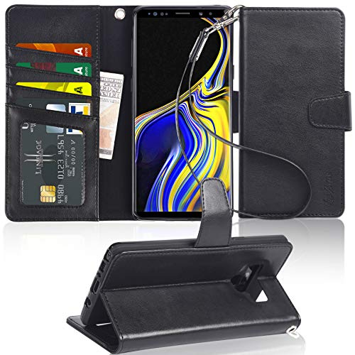 Galaxy Note 9 Case, Arae [Stand Feature] PU Leather Wallet case with Wrist Strap and [4-Slots] ID&Credit Cards Pocket for Samsung Galaxy Note 9 - Black