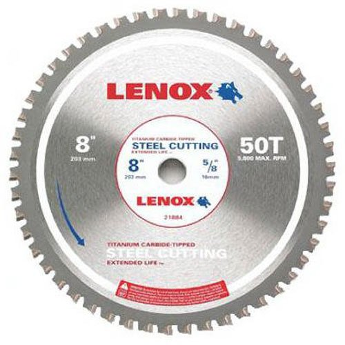 - LENOX Tools Circular Saw Blade, Steel-Cutting, 8-inch, 50T (21884ST800050CT)