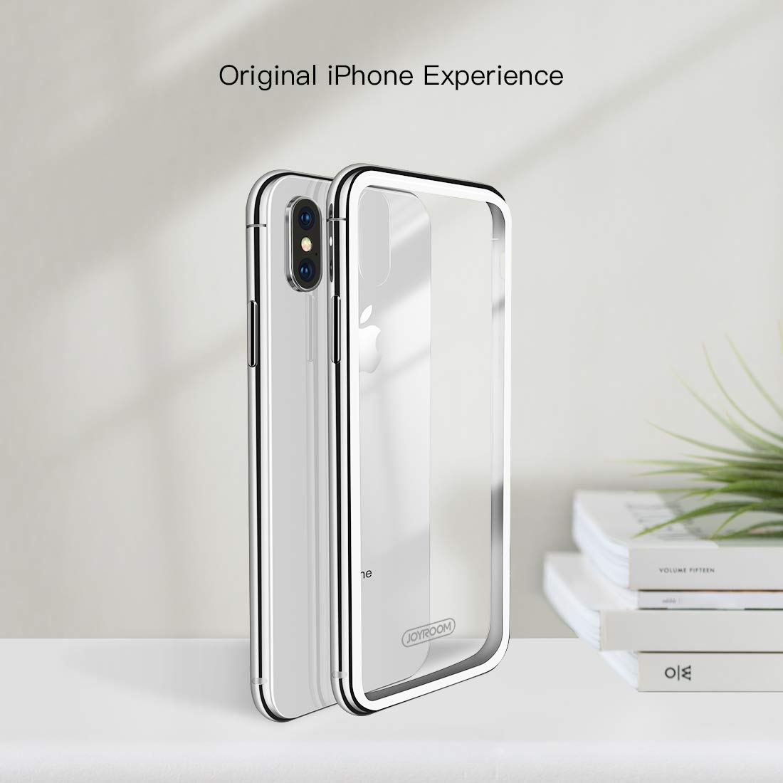 JOYROOM Crystal Clear Glass Case for iPhone Xs/iPhone X, Hard Slim Thin Metal Bumper with Soft TPU Inner Frame Case, Anti-Scratch 9H Glass Back Cover for iPhone 5.8 inch (White)