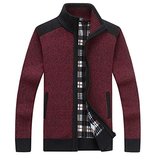 2018 Autumn/Winter Mens Cardigan with Fleece and Thick Vertical Collar Warm Long Sleeve Knit