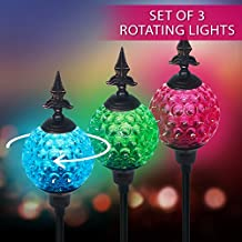 Crackle Ball Solar Lights with Spinning Glass & Decorative Copper Top   Heavy Duty Iron Stakes   Color Changing Stake Lamps   Accent Lighting for Garden/ Yard/ Driveway (3 Pack)