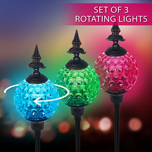 Color Changing Crackle Glass Ball Solar Light - 8